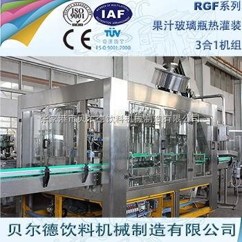 果汁饮料灌装生产线玻璃瓶瓶装果汁热灌装机组